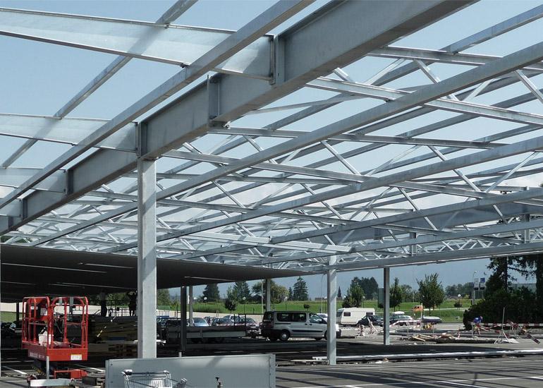 Überdachung Parkplätze Rheinpark Stahlkonstruktion